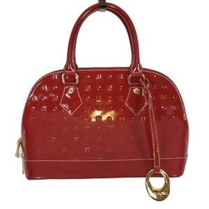 Arcadia Patent Monogramed Red Leather Chic Handbag